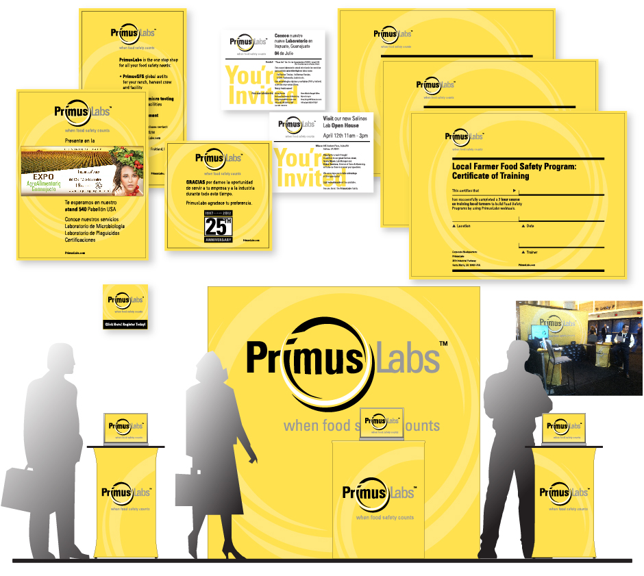 PrimusLabs Promotional Materials Certificates Trade Show Presentation, yellow