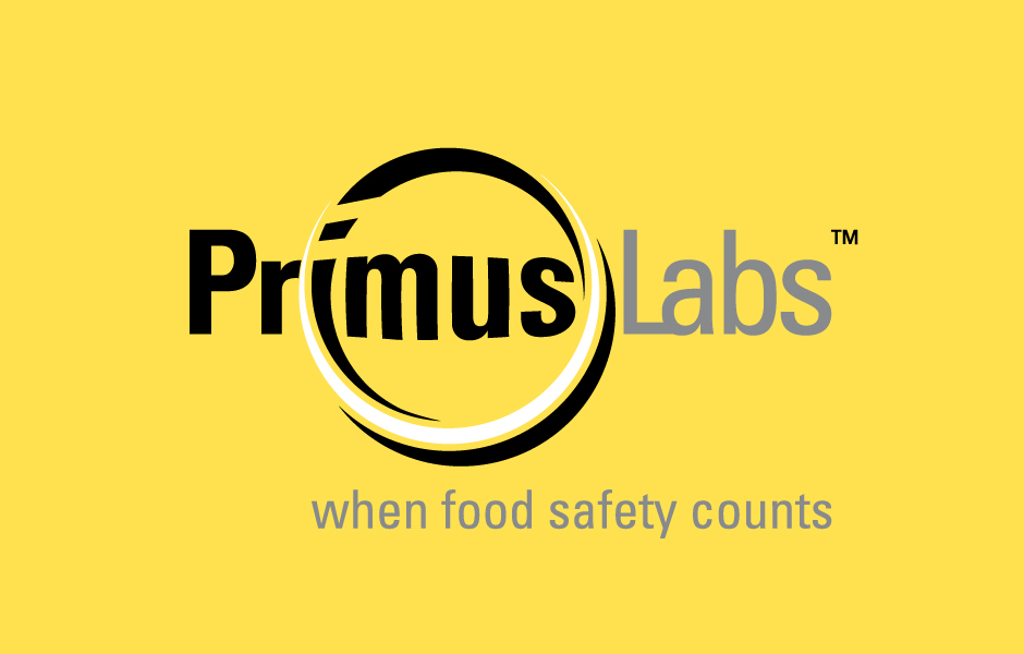 PrimusLabs Logo, on yellow background, when food safety counts