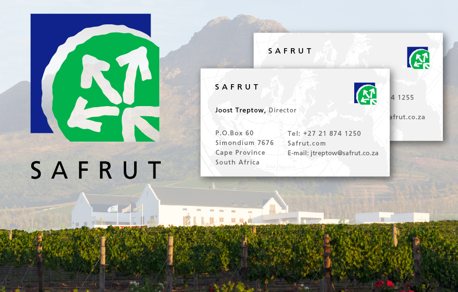 Safrut, South Africa, Exporting Produce, blue and green logo with arrows, includes two sample business cards over a South African landscape background