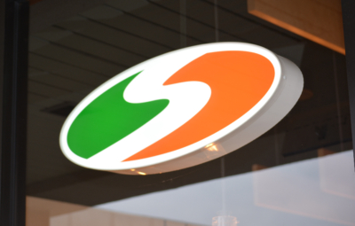 Shredwich Logo Sign Feature, green, orange and white