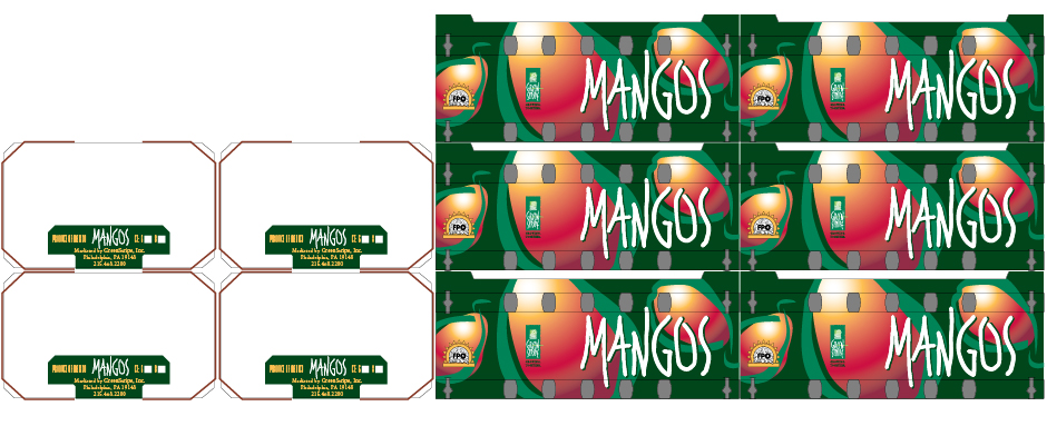 Stacked Mango Boxes, GreenStripe with Rich Colors