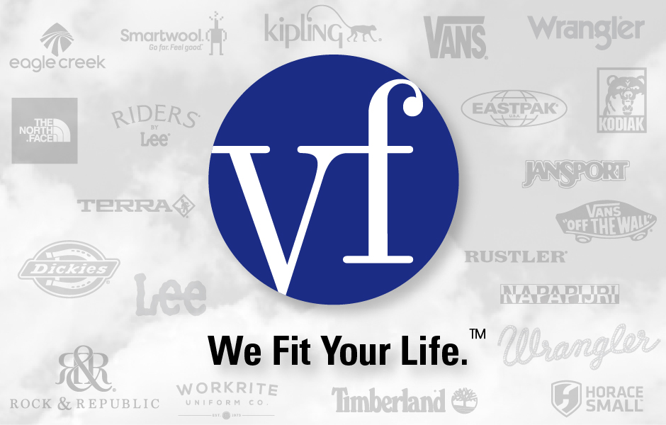 VF Corporation Logo, large blue circle with white VF, We Fit Your Life. with Wrangler, Timberland, Reef and more logos in background