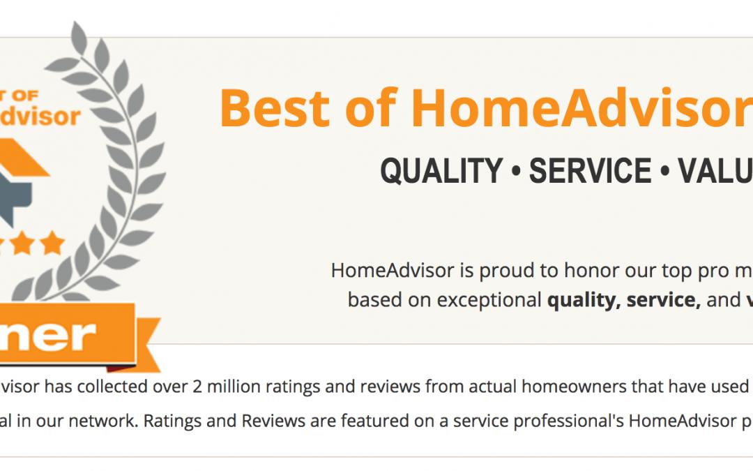 Best of HomeAdvisor 2017 Award Winner!