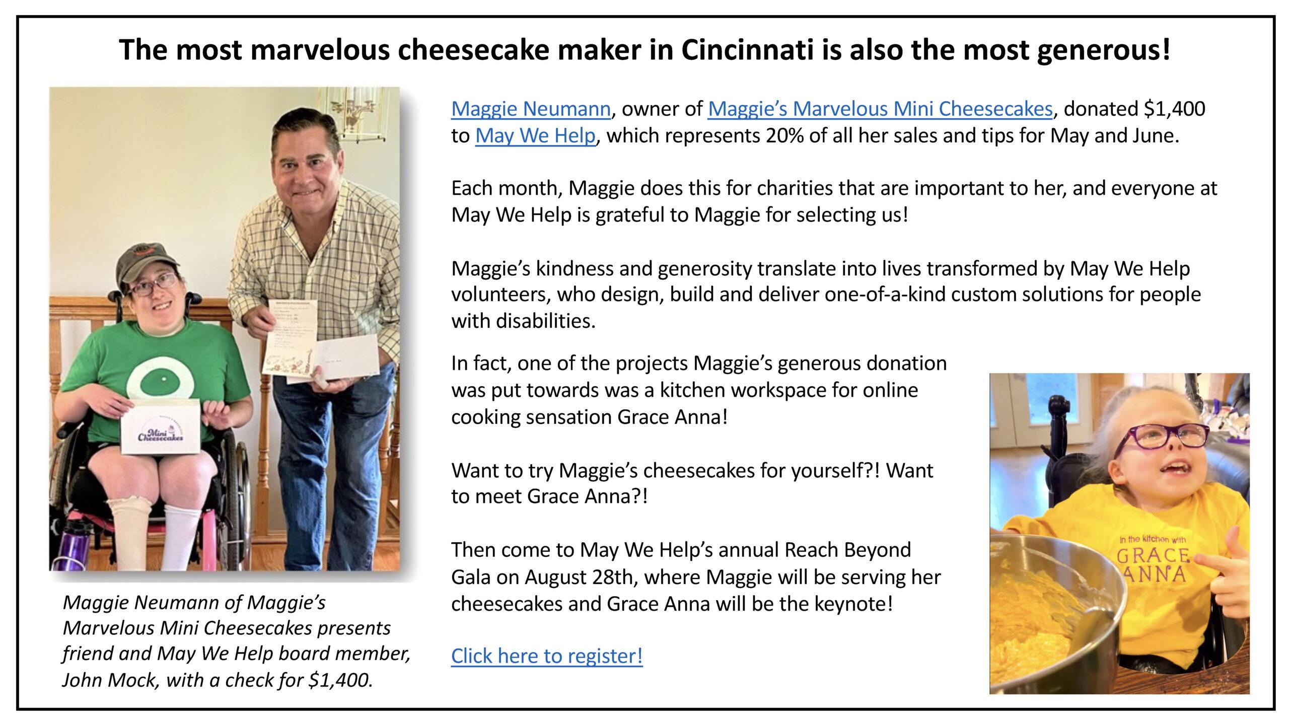 Mini Cheesecake Maker Donates Big!