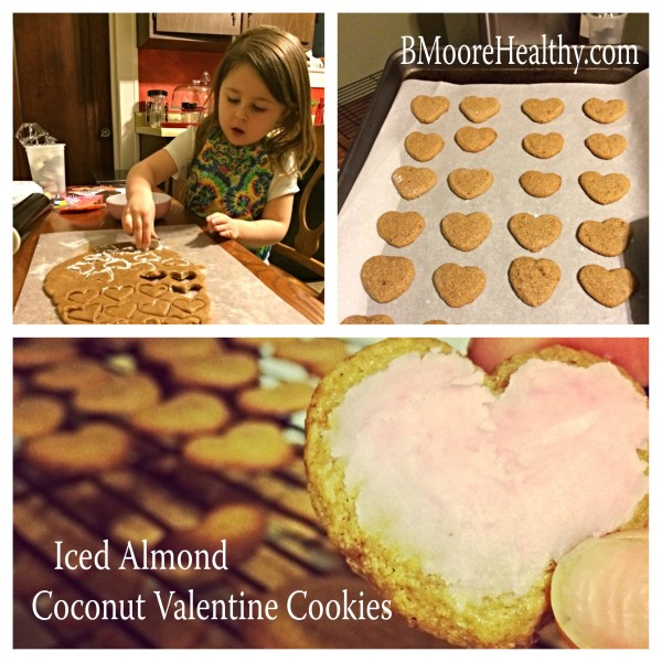 Iced Almond Coconut Valentine Cookies