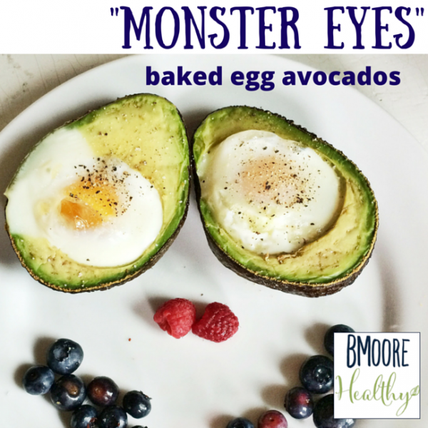 Monster Eyes baked egg avocados