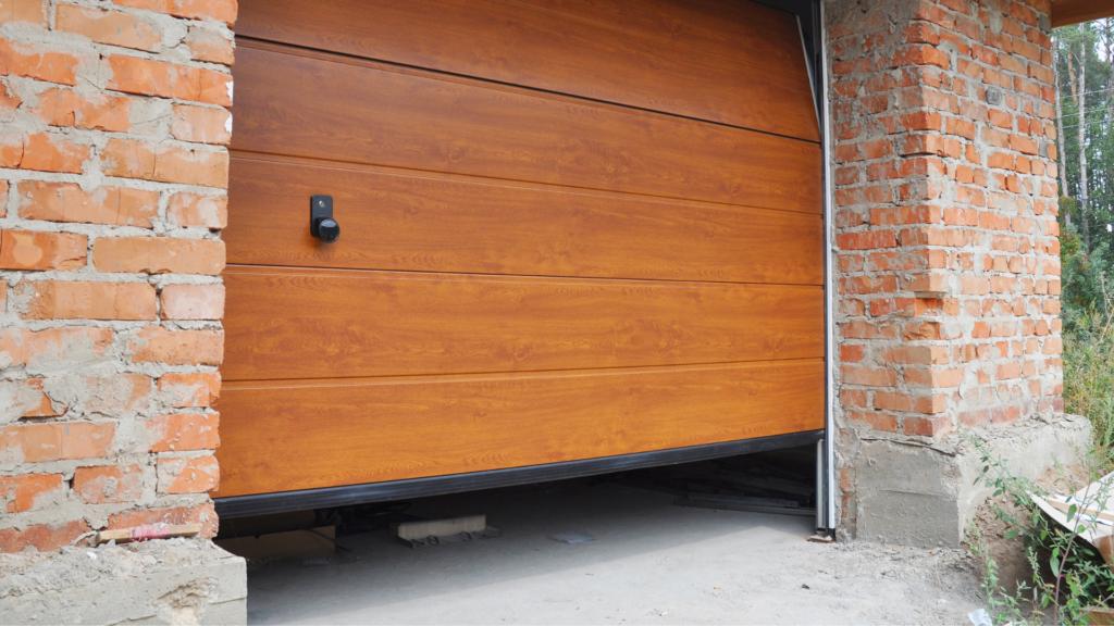 wooden garage door opening