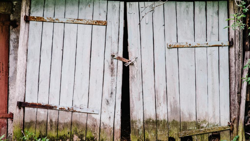 old wooden garage door replacement