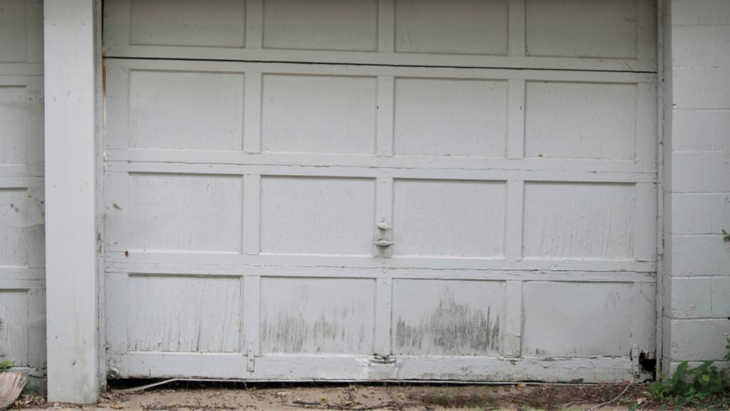 old white garage door