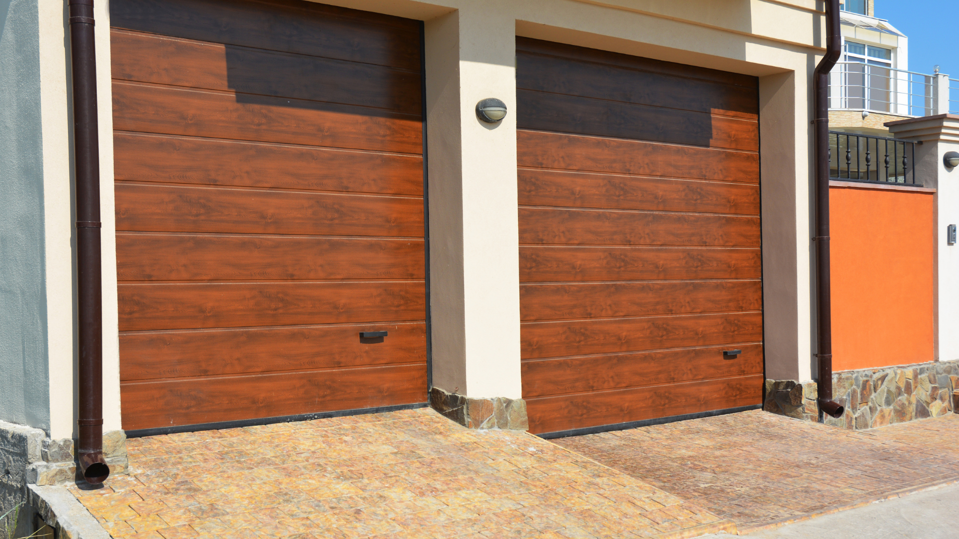 pair of wooden garage doors
