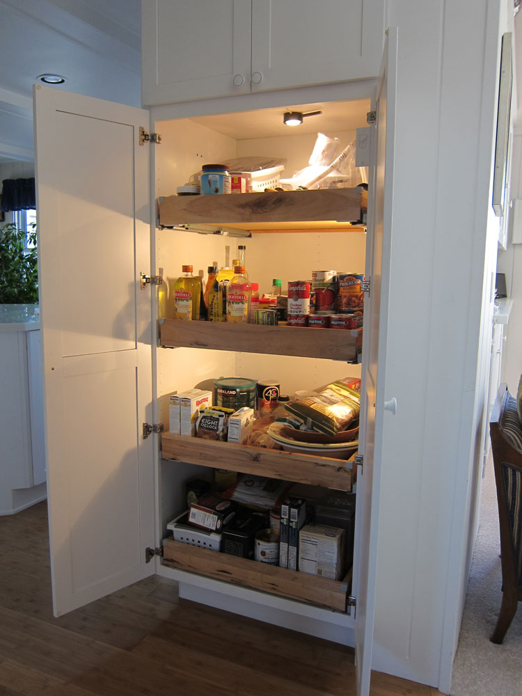 Pantry with lights.