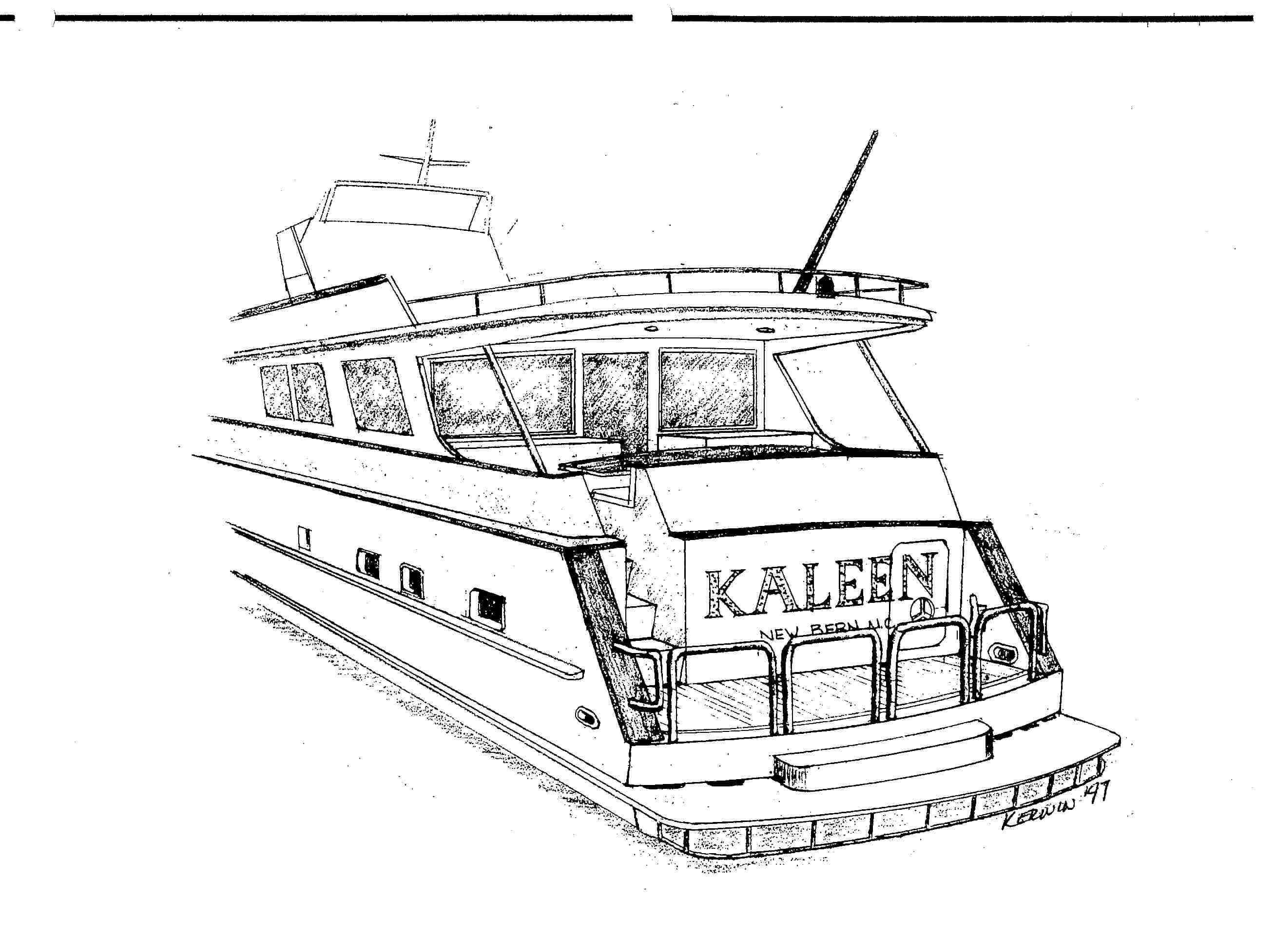 Added full width stateroom and shortened cockpit on Kaleen