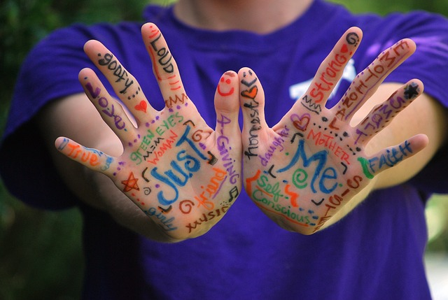 Hands covered words that describe person