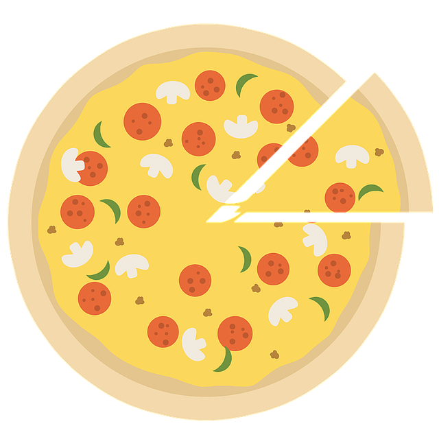 Cartoon pizza with slice coming out