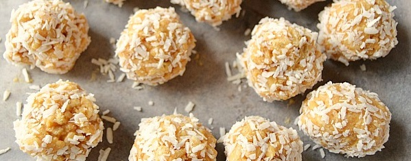 Peanut butter balls rolled in coconut