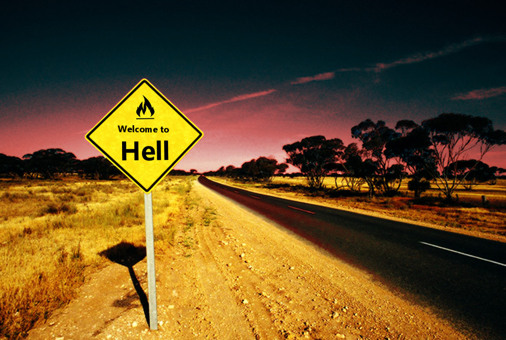 Welcome to hell roadsign