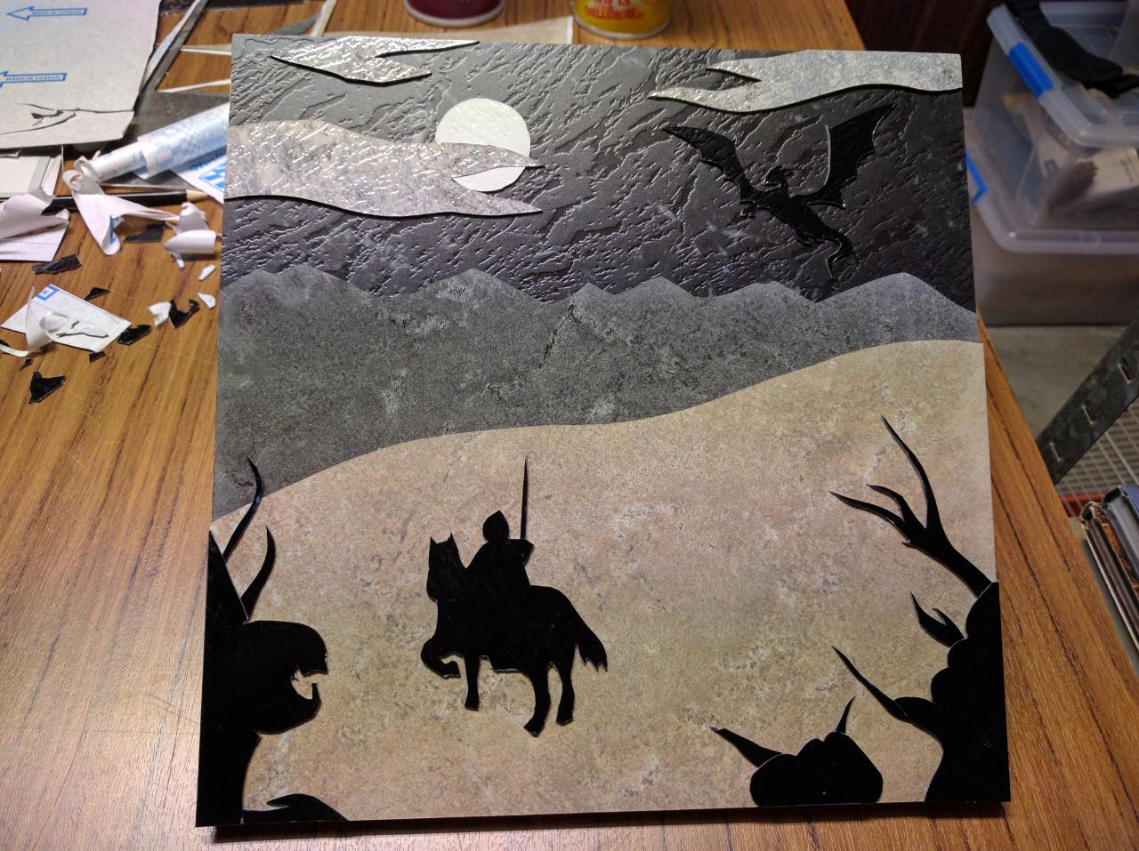 Black Knight Lino Art