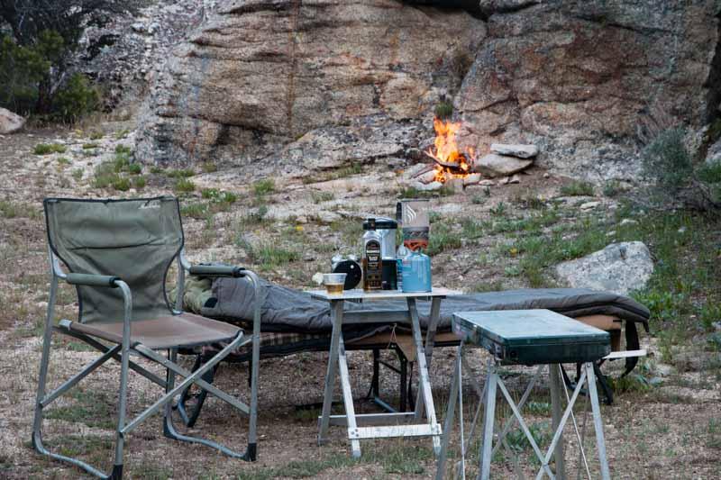 A cozy fair weather cot camp