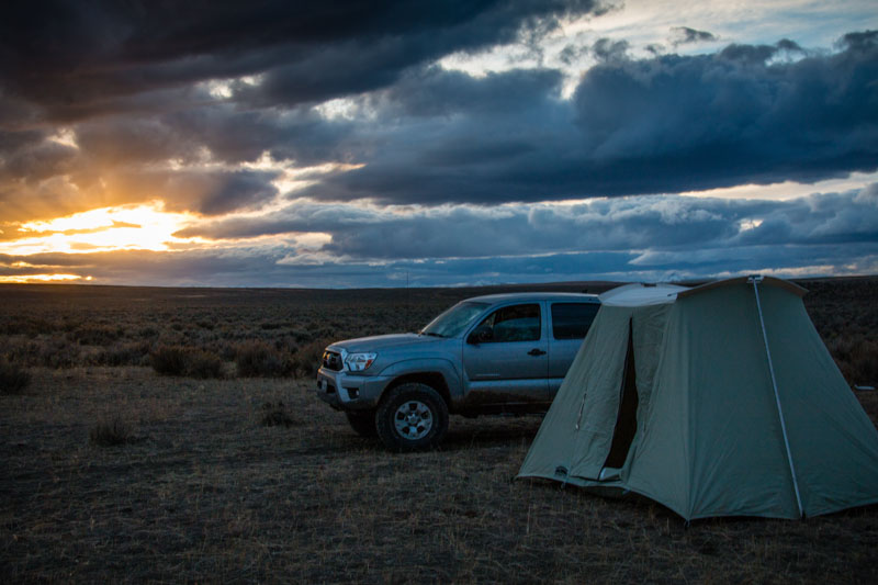 Dry lake bed makes excellent camp site