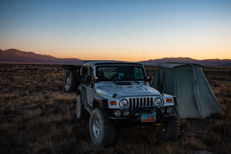Open grassy area makes easy camp site selection