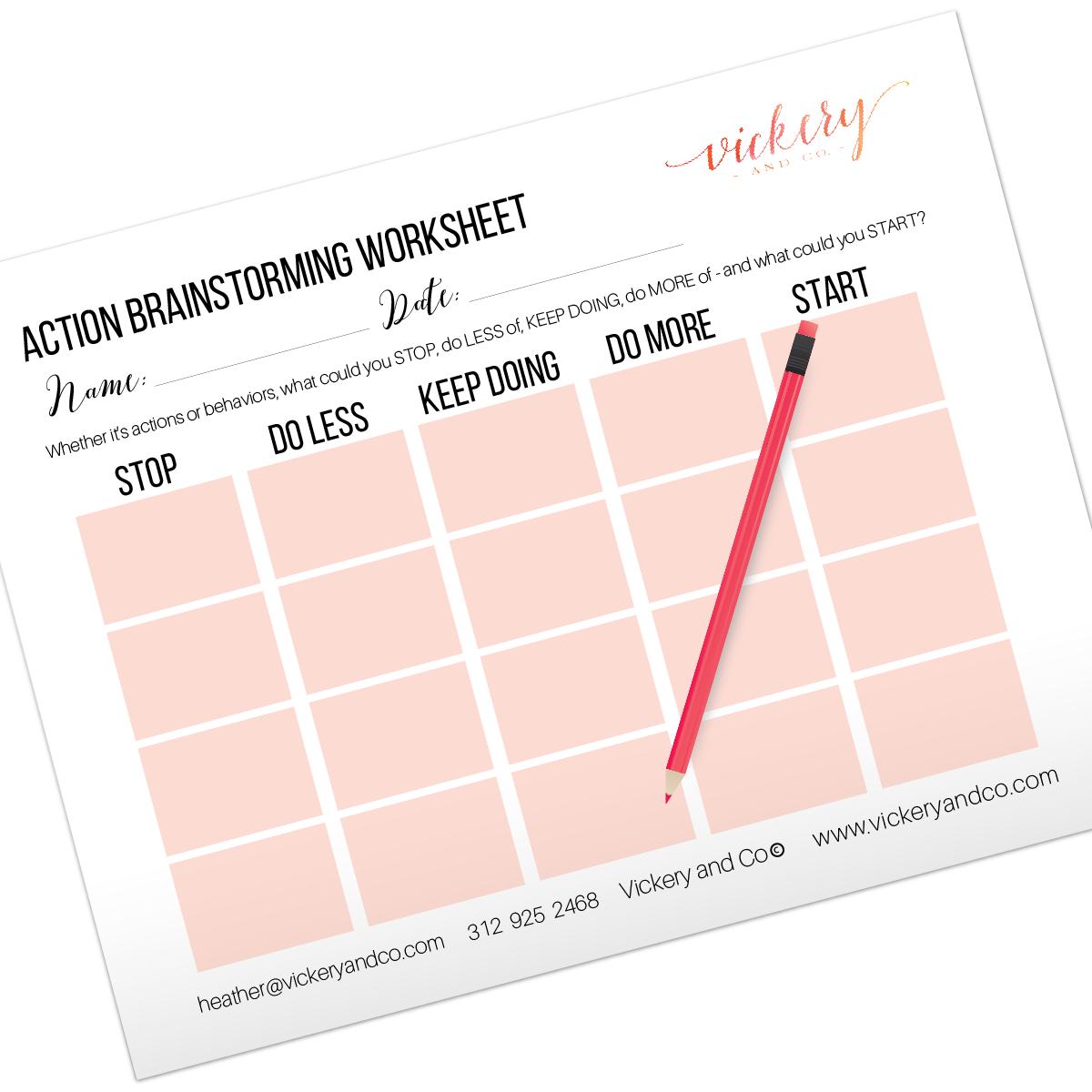 Action Brainstorming Worksheet