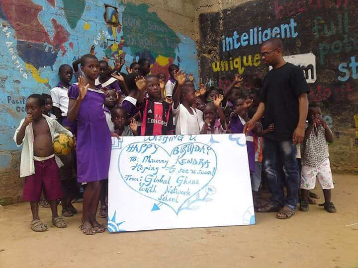 International Kendra getting birthday love from the children she has worked with in Africa