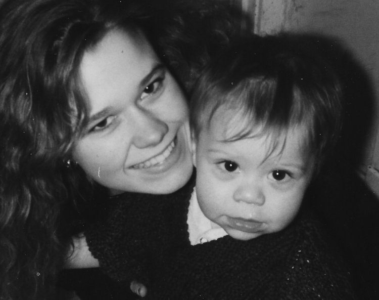 Kimberly Ricahrds, age 15, with her one year old son