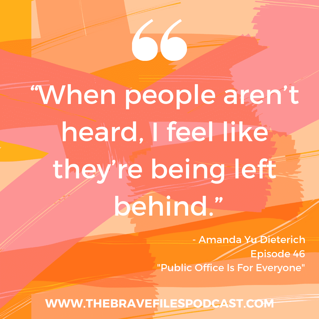 Amanda Yu Dieterich is running for local government in Chicago. She joins The Brave Files Podcast to talk about why it matter and what change she hopes to impart.