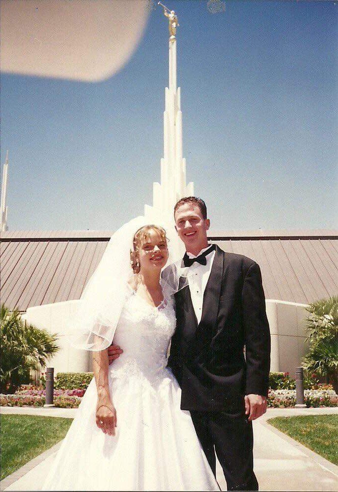 Shelly and her ex-husband, Brent, on their wedding day.