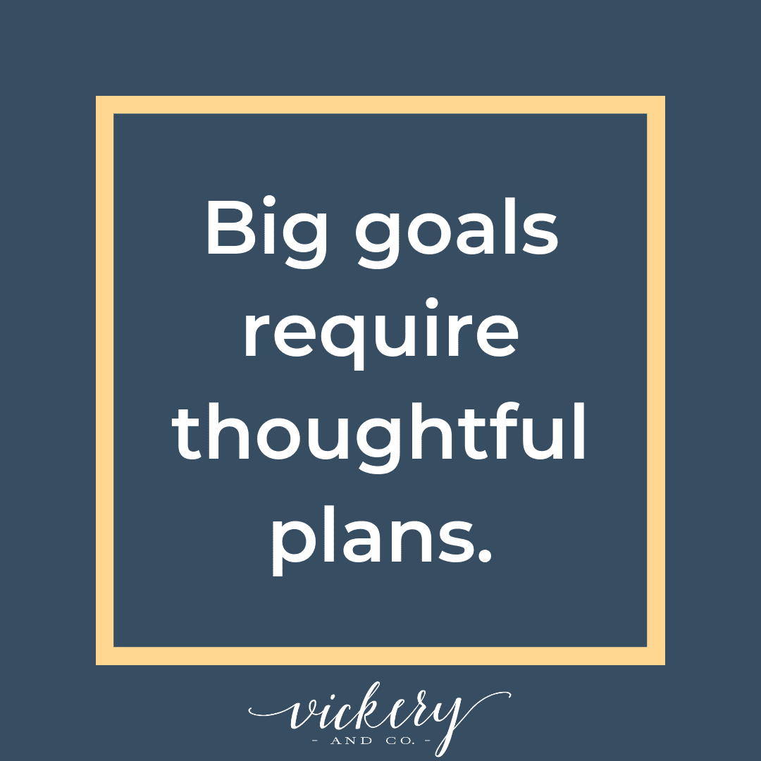 Big goals require thoughtful plans. Make the most of your time.