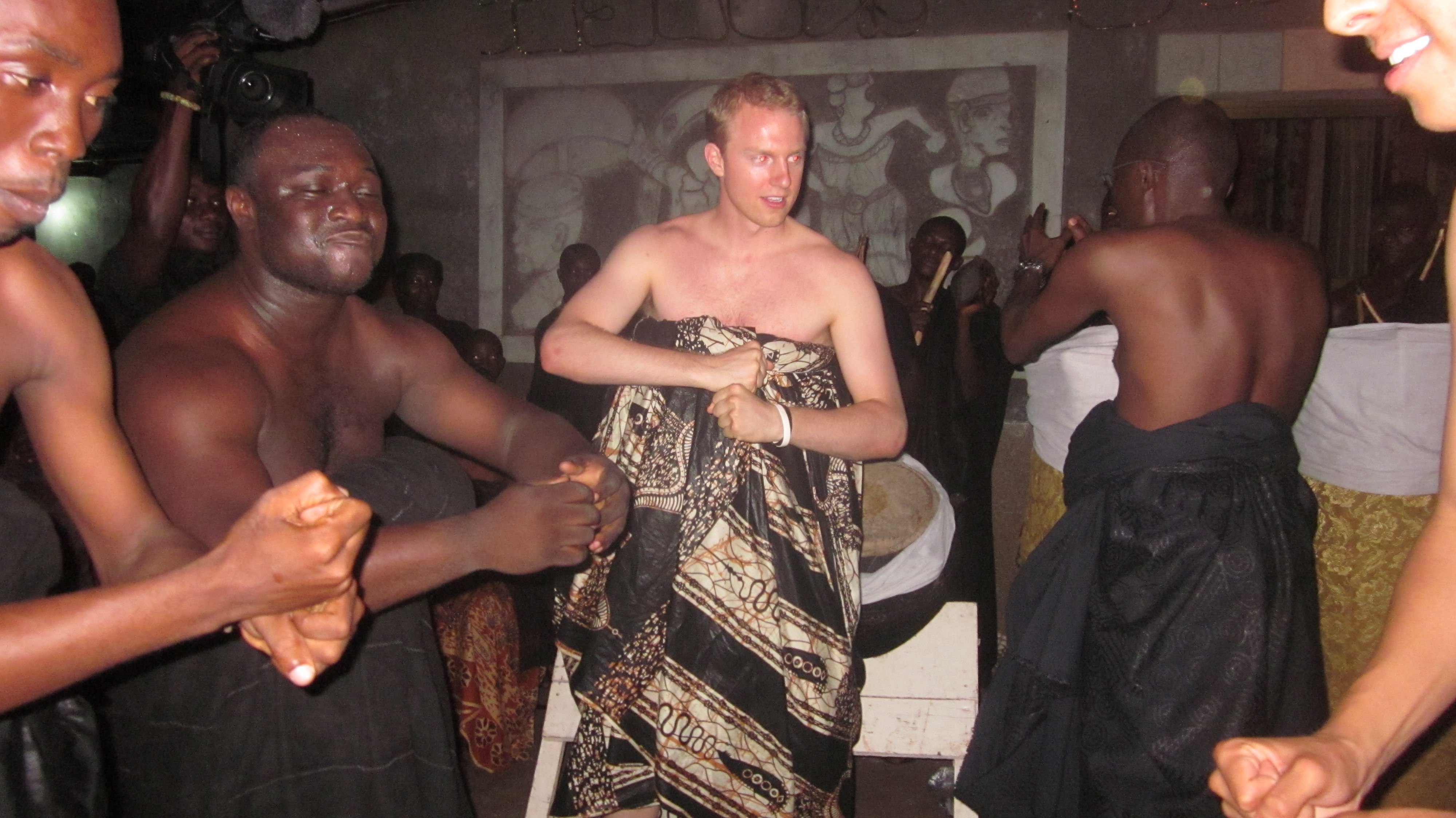 During a funeral ceremony in Ghana.