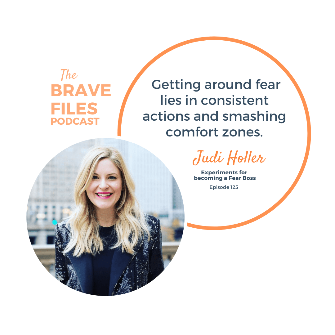 Fear Boss, Judi Holler joins The Brave Files Podcast to talk about owning fear, smashing comfort zones, and taking responsibility for your own life because the only person you're in competition with is yourself! Fear Experiments. Choose Bravely. Trust yourself. Love yourself. AFRAID, UNSTOPPABLE, RISE, fear experiments, courage, bravery, mindset