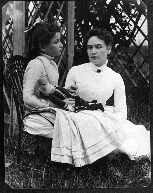 Helen Keller with Anne Sullivan, July 1888