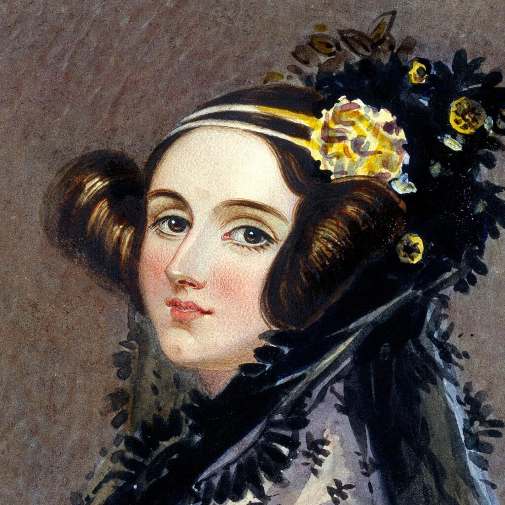 Watercolor portrait of Ada King, Countess of Lovelace (Ada Lovelace, 1838)