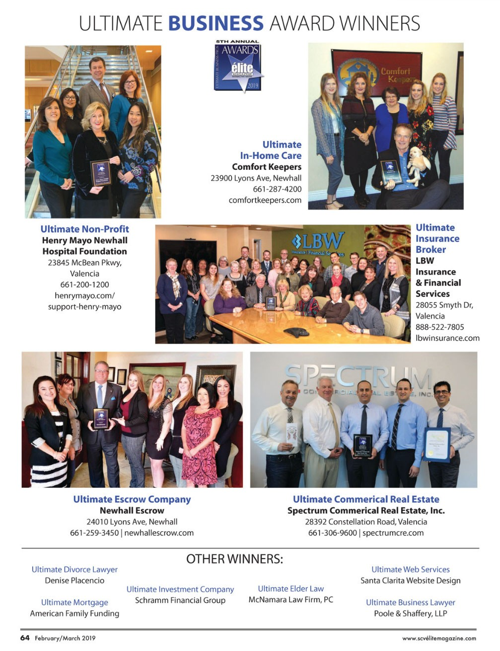 Ultimate Business Award Winners 2019