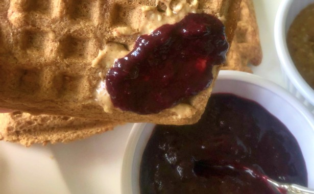 Waffles and Blueberry Jam