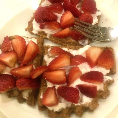 Waffles, Strawberries, and Coconut Yogurt