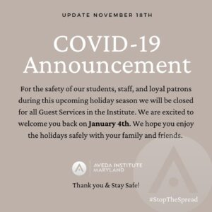 COVID Announcement - Aveda Institute Maryland