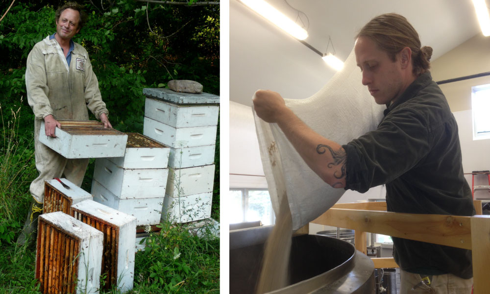 Todd Hardie tending the bees; Ryan Christiansen preparing a mash