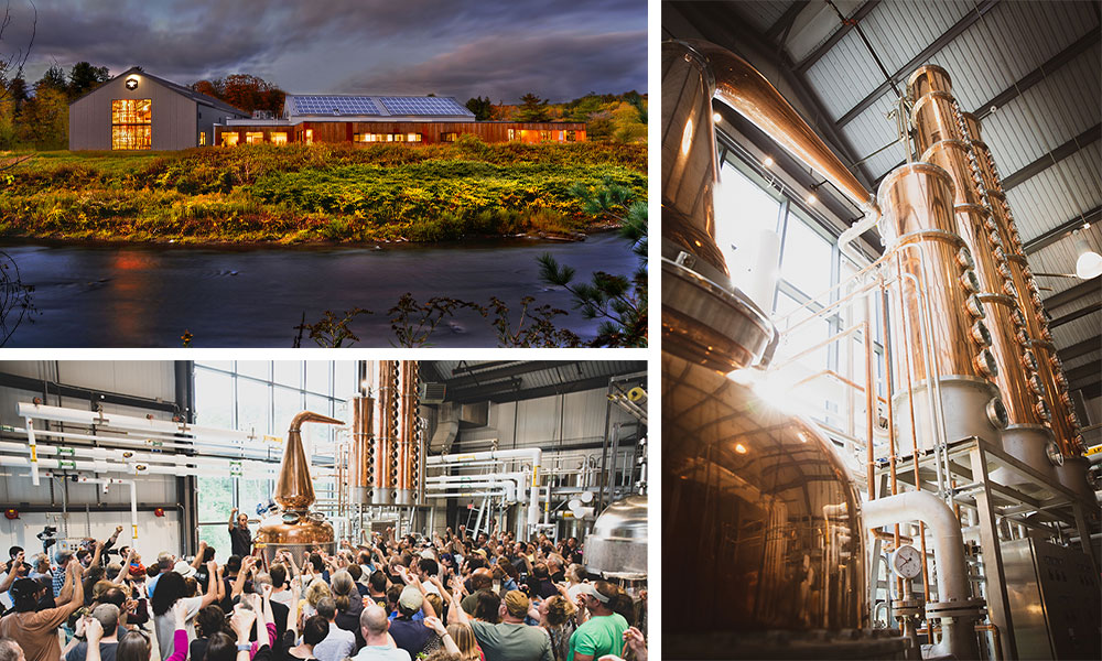 collage of outdoor view of building, a company meeting, and the tall copper still