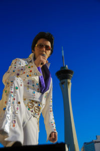 Photographers of Las Vegas - Portrait Photography - Elvis jumpsuit Stratosphere Hotel background