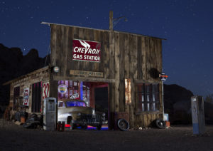 Photographers of Las Vegas - Architectural Photography - Nelson Ghost town old wooden building at night