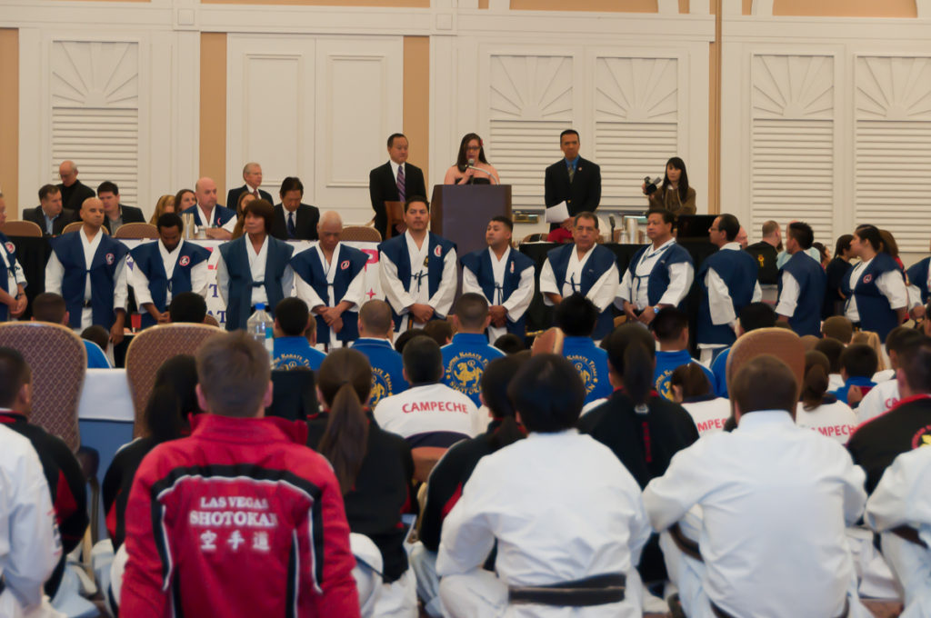Photographers of Las Vegas - Corporate Photography - Taekwondo tournament opening speech looking over crowd