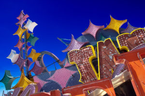 Photographers of Las Vegas - Architectural Photography - neon graveyard blue sky