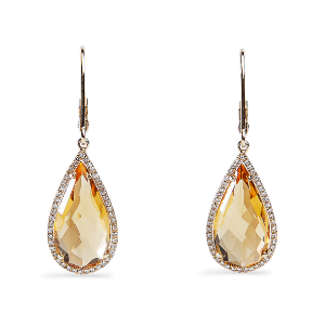 Yellow Citrine Teardrop Earrings