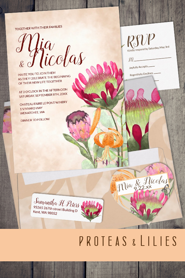 fall colors wedding invitation pink peach coral orange magenta modern elegant unique floral