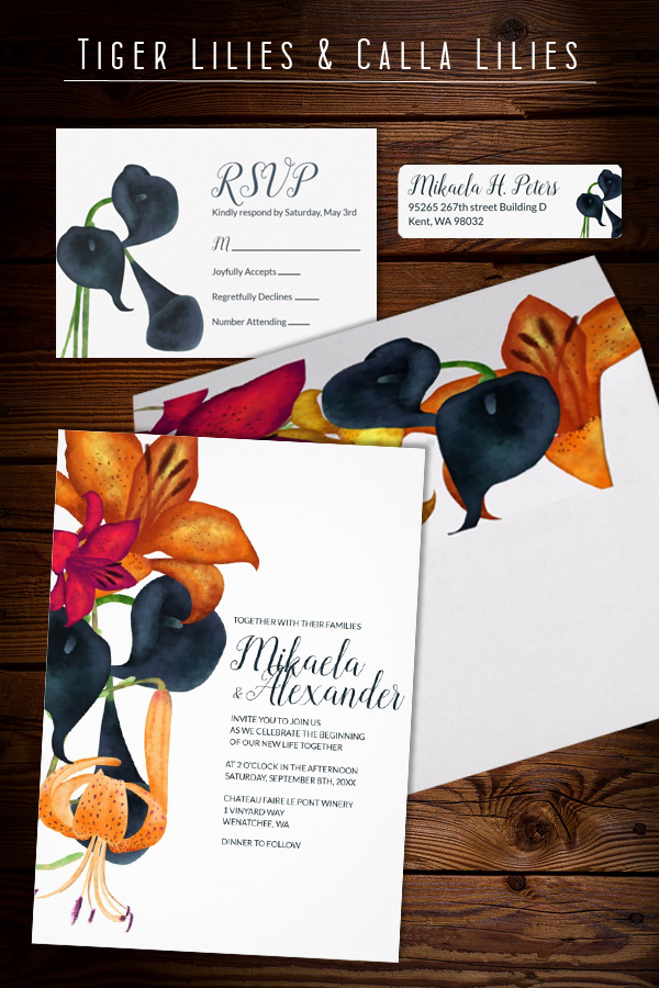 fall wedding invitations calla lillies tiger lillies dark blue gold elegant modern floral template