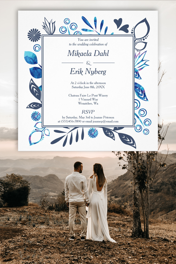Crystal Blue and Aquamarine Scandinavian Winter Wedding Invitations