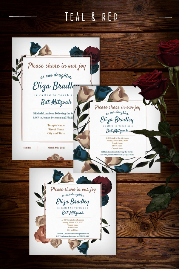 Modern Trendy Teal and Burgundy Rose Bat Mitzvah Invitations