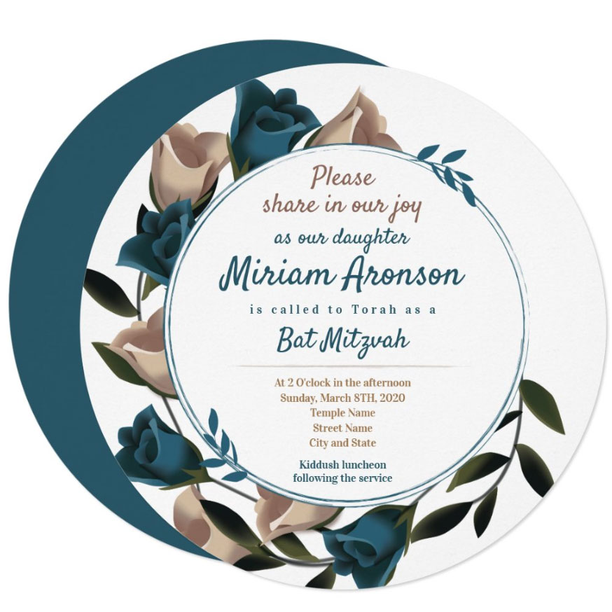 teal bat mitzvah invitation